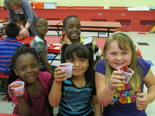 Elementary school students in cafeteria