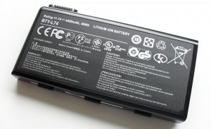 close up of lithium-ion laptop battery